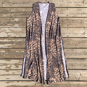 LuLaRoe Leopard Print Joy Vest Sleeveless Duster S